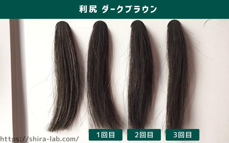 50%の白髪毛束に利尻ヘアカラーの人気色のダークブラウンを使ってみた結果