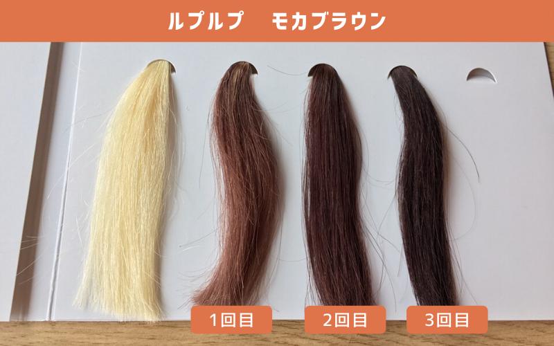 白髪100%の毛束にルプルプ(モカブラウン)を使ってみた結果