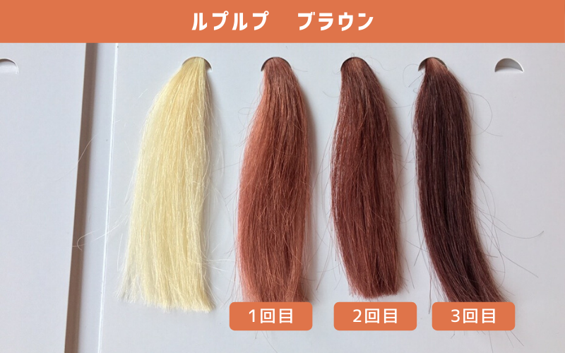 白髪100%の毛束にルプルプ(ブラウン)を使ってみた結果