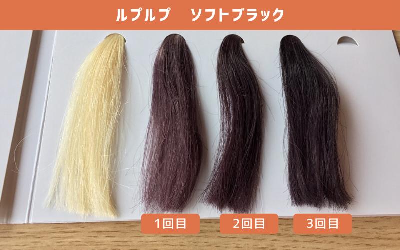 白髪100%の毛束にルプルプ(ソフトブラック)を使ってみた結果