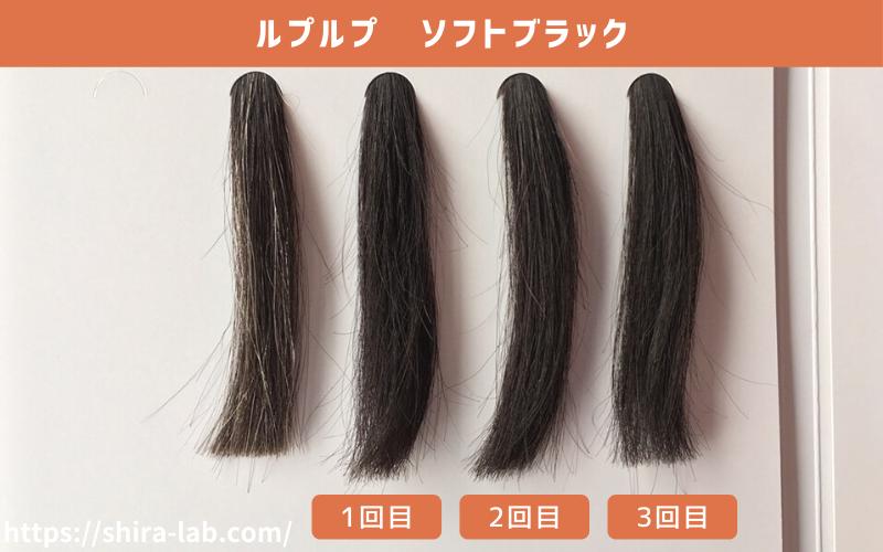 白髪500%の毛束にルプルプ(ソフトブラック)を使ってみた結果