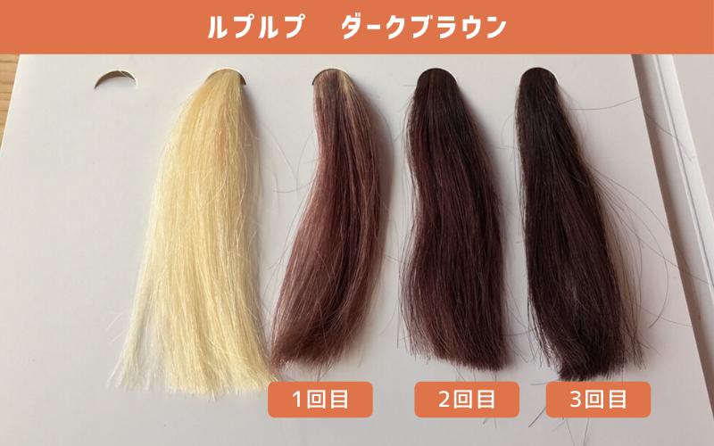 白髪100%の毛束にルプルプ(ダークブラウン)を使ってみた結果