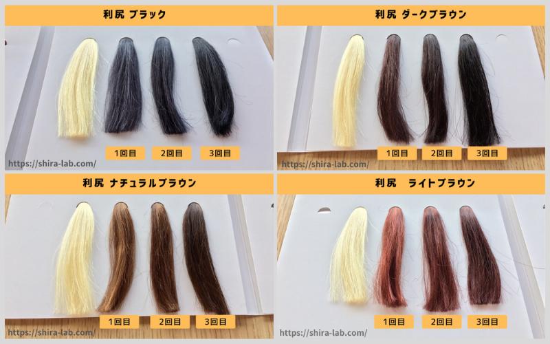 白髪100%の毛束に3回染めてみた結果染まりはかなり良い