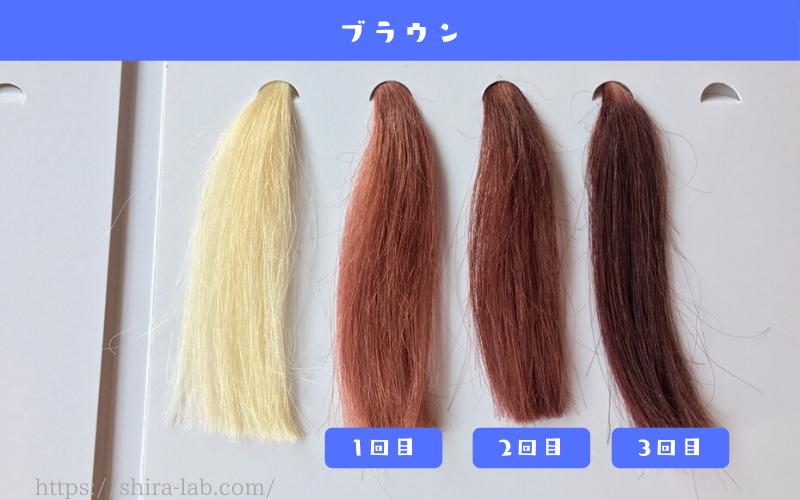 ルプルプのブラウンを白髪100%の毛束に使ってみた結果
