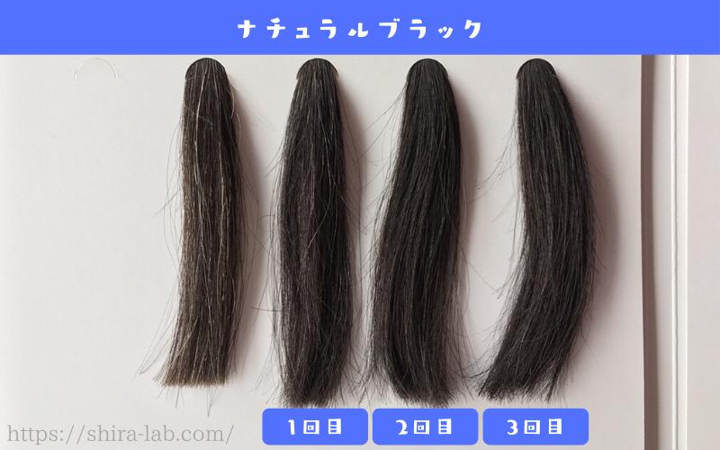 ルプルプのナチュラルブラックを白髪30%の毛束に使ってみた結果