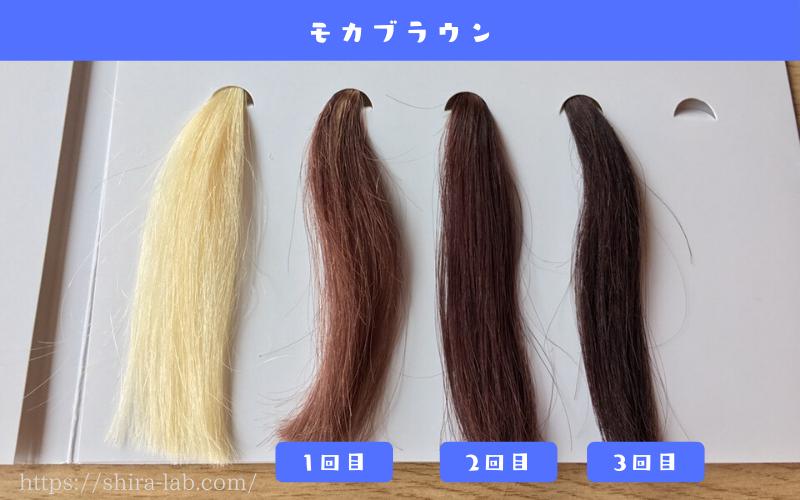 ルプルプのモカブラウンを白髪100%の毛束に使ってみた結果