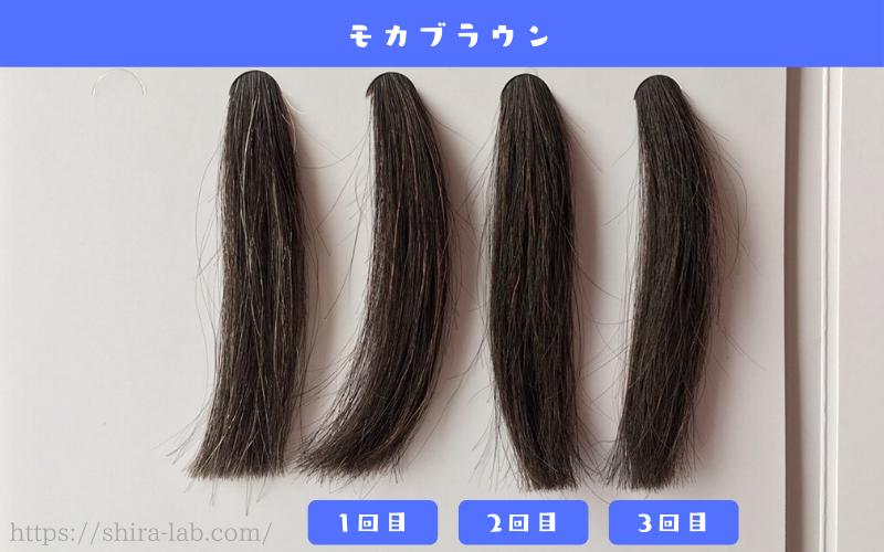 ルプルプのモカブラウンを白髪30%の毛束に使ってみた結果