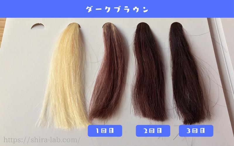 ルプルプのダークブラウンを白髪100%の毛束に使ってみた結果