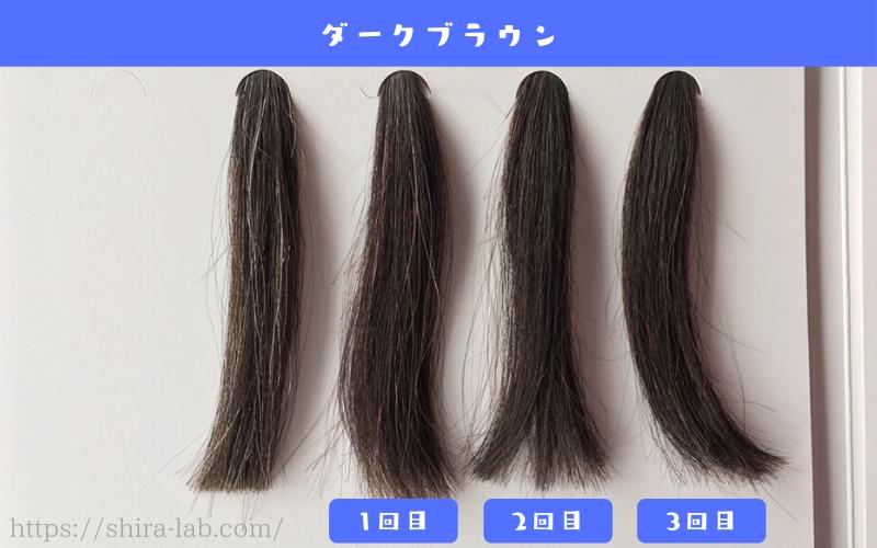 ルプルプのダークブラウンを白髪30%の毛束に使ってみた結果