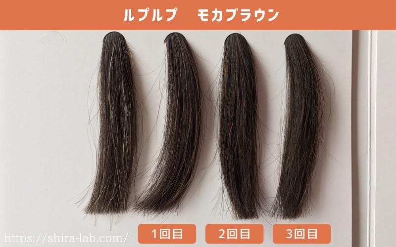 ルプルプのモカブラウンはどう染まるのか、1回・2回・3回染めた毛束を並べてみた(白髪50%)