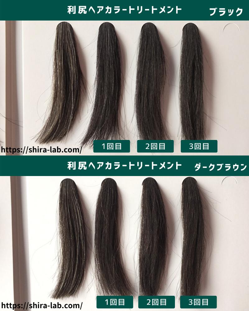 利尻ヘアカラートリートメントがどれくらい染まりが良かったのか、わかりやすく毛束でも試してみたよ。