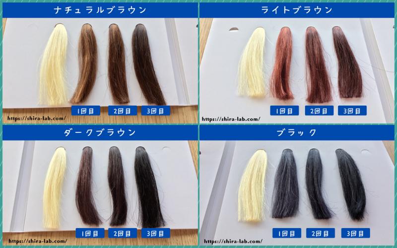 白髪100%の毛束に利尻ヘアカラーの各カラーを使ってみた結果…