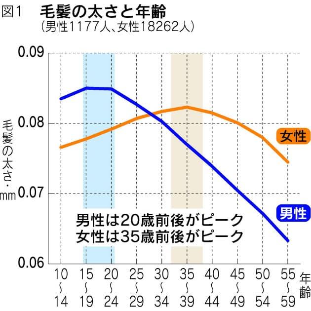 髪の太さと年齢のグラフ、参考までに見てみよう